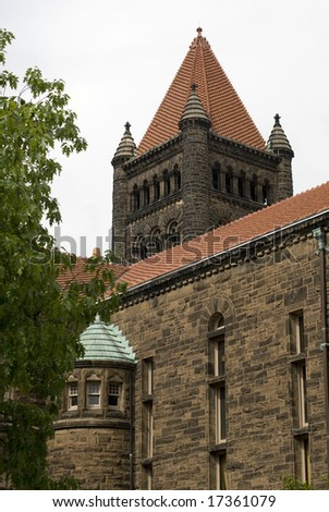 Tall brick structure with clay tiled roof