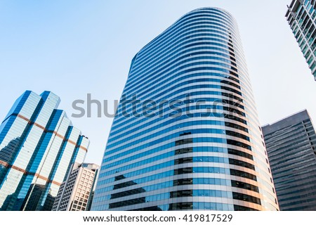 tall building, business tower at downtown, City center, bussness area between evening to twilight night, Bangkok, capital city of Thailand #419817529