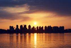 Tall buildings golden hour landscape