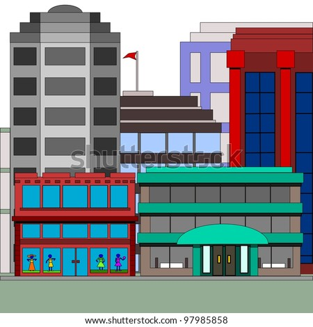 Tall buildings with a dress shop.  Illustration of tall and short buildings in the city with a dress store.
