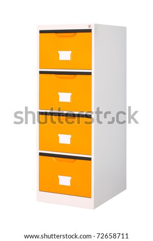 Tall cabinet with 4 drawers isolated on white