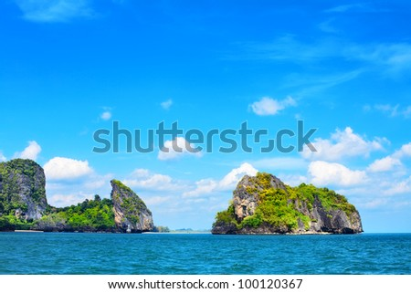 tall cliff with trees at Andaman Sea, Thailand