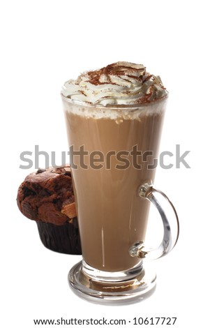 tall cup of fresh coffee latte and muffin isolated