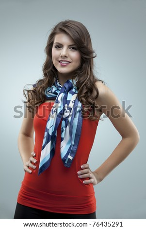 tall girl fashion posing red blouse scarf