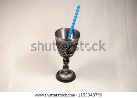 Tall Goblet with Blue Straw #1155348790