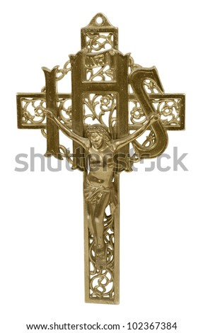 Tall Golden Crucifix representing religion viewed straight on - path included