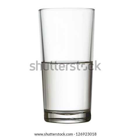 tall half full glass of water isolated on white clipping path included - stock photo