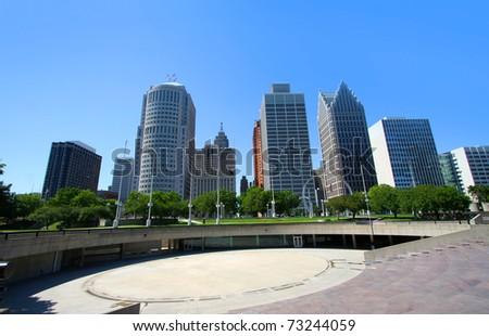 Tall high raise buildings in Downtown Detroit