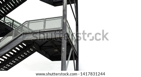 Tall metal gray staircase outside #1417831244