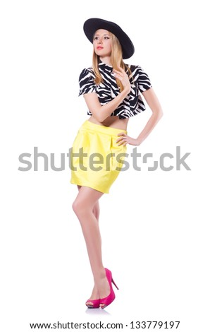 Tall model isolated on the white