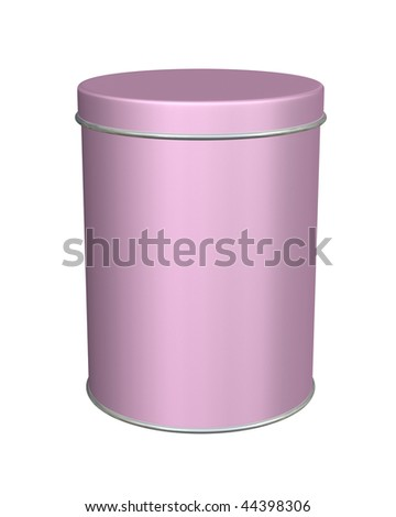 Tall pink metal round tin container is blank isolated on white.