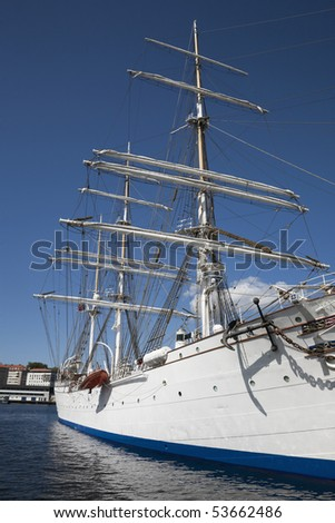 Tall ship barque in harbour