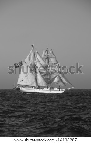 Tall Ship Black and White
