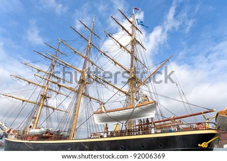 Tall ship Georg Stage on mooring in Copenhagen, Denmark