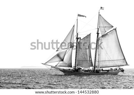 tall ship under sail in...