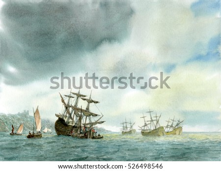 Tall Ship, Watercolor Painting #526498546