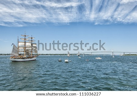 Tall Ships Sailing Towards the Newport Bridge