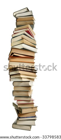 Tall stack of books isolated over white background