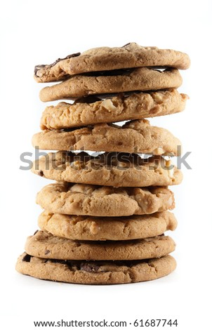 Tall stack of mixed chocolate chip and macadamia nut cookies on a white isolated background.