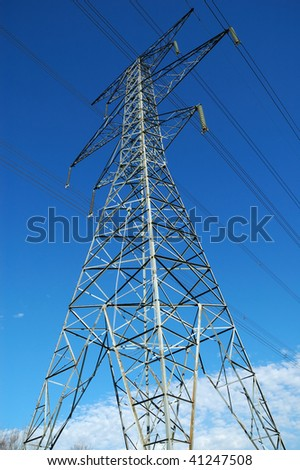 Tall steel hydro electric transmission tower