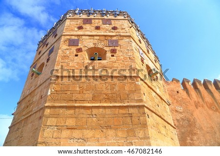 Tall tower protects the medieval Kasbah of the Udayas in Rabat, Morocco