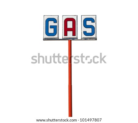 Tall vintage gas sign isolated on white.