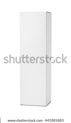 Tall White Product Box with Copy Space Isolated on White Background. #441885883