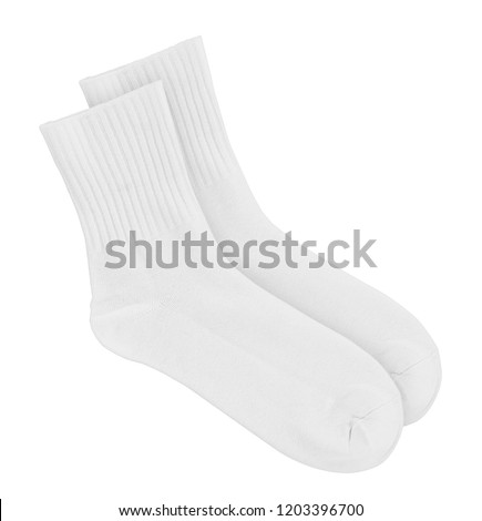 Tall white socks on an isolated white background