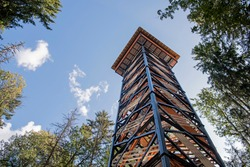 Tall wooden & metal lookout tower in forest. Sunny summer day.