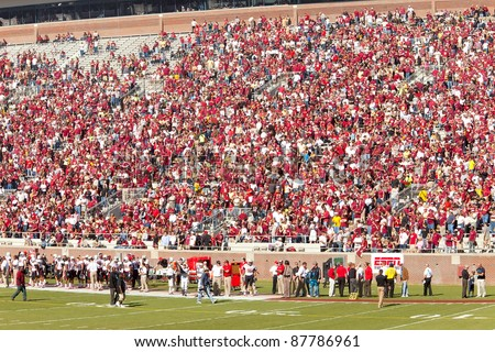TALLAHASSEE, FL - OCT. 22: Fans at Doak Campbell Stadium, home for Florida State college football team on Oct. 22, 2011. The stadium seats 82,300, making it the NCAA's fourteenth largest stadium.