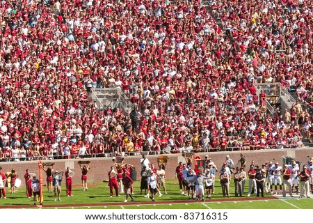 TALLAHASSEE, FL - OCT. 16:  Sold out crowd at Doak Campbell Stadium, home for Florida State football team on Oct. 16, 2010. The stadium seats 82,300, making it the NCAA's fourteenth largest stadium.