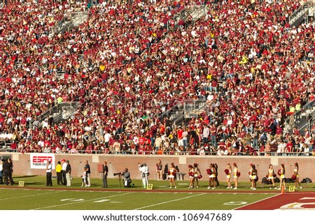TALLAHASSEE, FL - OCT. 22:  Sold out crowd at Doak Campbell Stadium, home of the FSU Seminoles on Oct.22, 2011 in Tallahassee, FL. The football stadium can hold 82,300 fans, making it the fourteenth largest in the NCAA.
