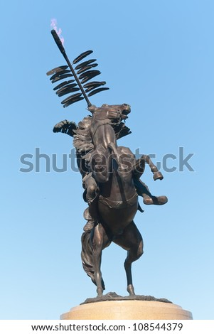 TALLAHASSEE, FLORIDA - OCT. 16: Statue of Chief Osceola on his horse Renegade, the official symbol of the FSU Seminoles on October 16, 2010 in Tallahassee, Florida.
