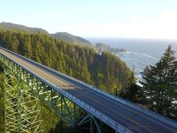 Tallest bridge in Oregon, Thomas Creek Bridge. Ariel, drone.