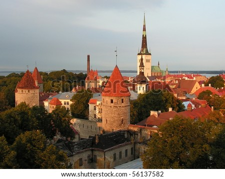 Tallinn - capital of Estonia; view over the Old Town; the Tallinn Old Town became a UNESCO World Cultural Heritage site in 1997