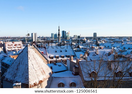 Tallinn city panoramic winter view (Estonia)