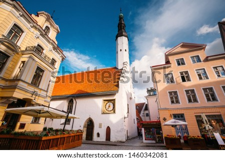 Tallinn, Estonia. Church Of Holy Ghost Or Holy Spirit Is Medieval Lutheran Church Located Behind Raekoja Plats In Summer Sunny Day. Stock fotó ©