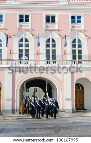 TALLINN, ESTONIA - FEBRUARY 24: Celebrating of 95th Day of Independence and Procession of students from a building of Parliament February 24, 2013 in Tallinn, Estonia.