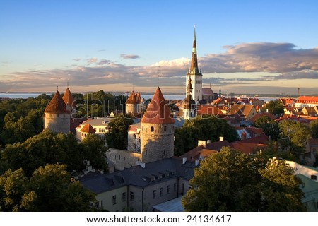 tallinn estonia old city center cityscape panorama sightseeing view sunset