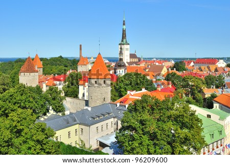 Tallinn, Estonia. View of the Old Town  from Toompea Hill