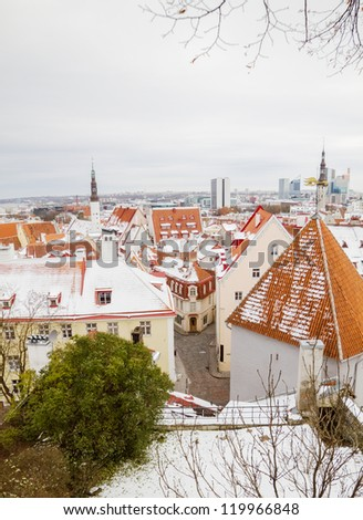 Tallinn old town clay tiles roofs at winter.