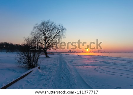 Tallinn skyline in winter at sunset, Estonia