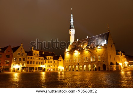 Tallinn Town Hall at Night in Raekoja Square, Estonia