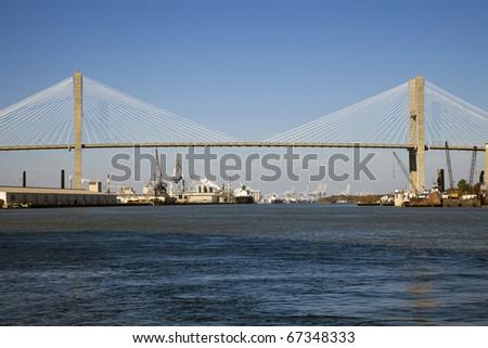 Talmadge Memorial Bridge in Savannah, Georgia. - stock photo