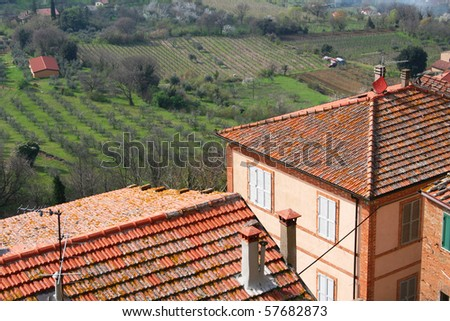 taly. Tuscany region. Montepulciano town in spring - stock photo