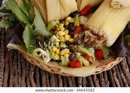 Tamale wrapped in dried corn leaves