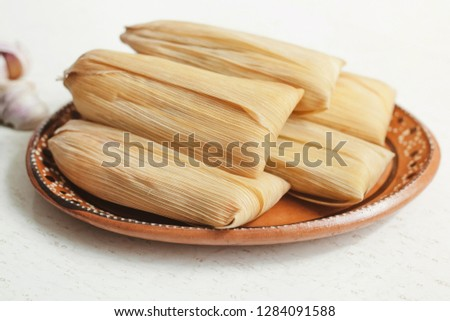 tamales mexicanos, mexican tamale, spicy food in mexico Foto stock ©