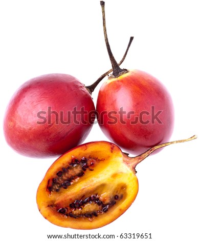 Tamarillos, completely isolated on white