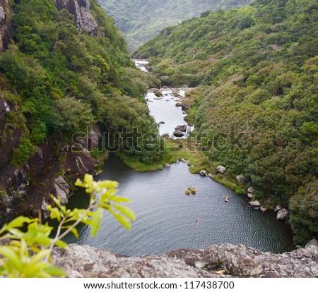 Tamarind Falls, Mauritius - stock photo