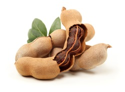 Tamarind tropical fruit with leaf isolated on white background